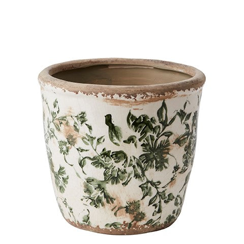 Rustic Green Ceramic Floral Plant Pot