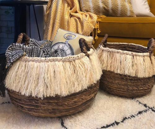 Round Floor Storage Basket With Boho Fringing