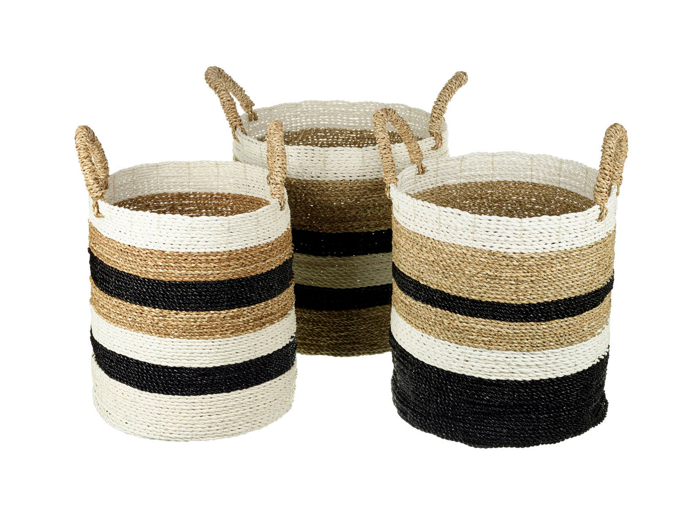 Set Of Three Round Grass Storage Basket With Handles