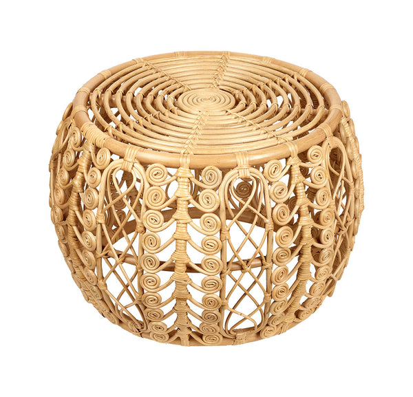 Natural Rattan Style Ottoman Table Stool