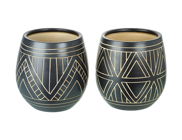 Set of Two Rustic Style Ceramic Pots Geometric Black & White Planters