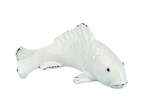 Rustic White Wash Koi Carp Decorative Nautical Fish Ornament