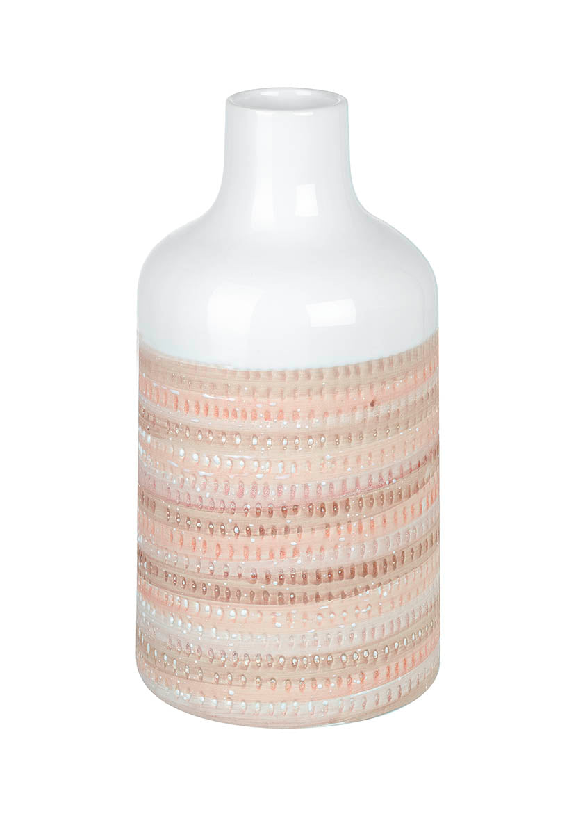 Glazed Pottery Pink And Beige Ceramic Vase