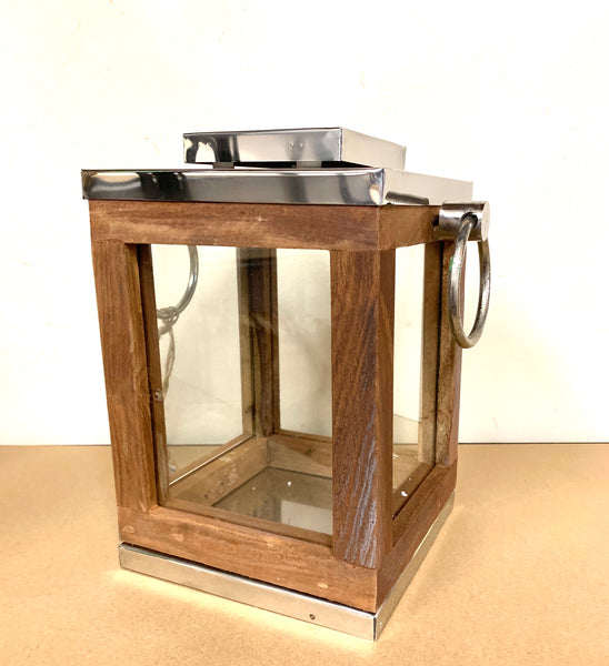 Wooden Square Lantern Tea Light Candle Holder