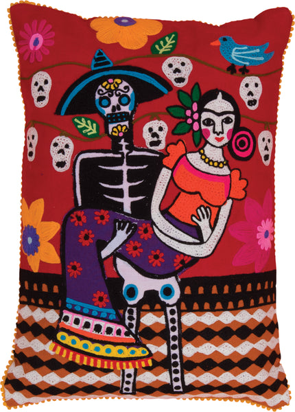 Frida Kahlo Day Of The Dead Skeleton Cushion