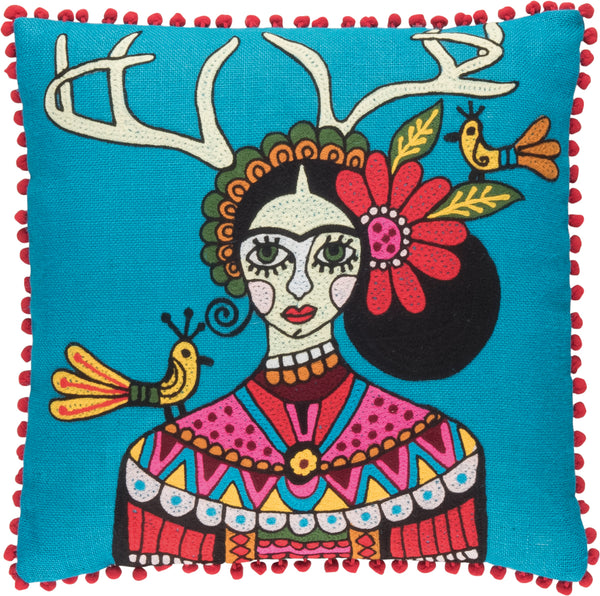 Frida Kahlo Embroidered Stag Horns Cushion