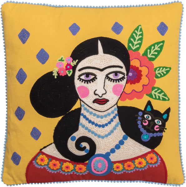 Frida Kahlo With Cat Yellow Embroided Filled Cushion
