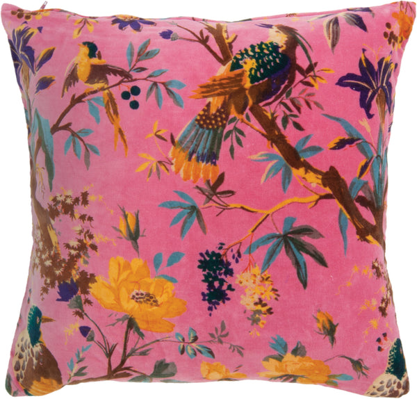 Coral Bird Of Paradise Cotton Velvet Cushion