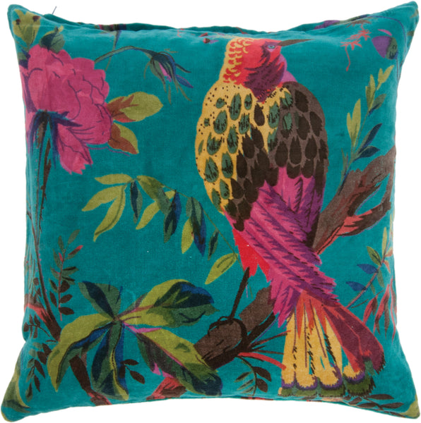 Blue Bird Of Paradise Cotton Velvet Cushion