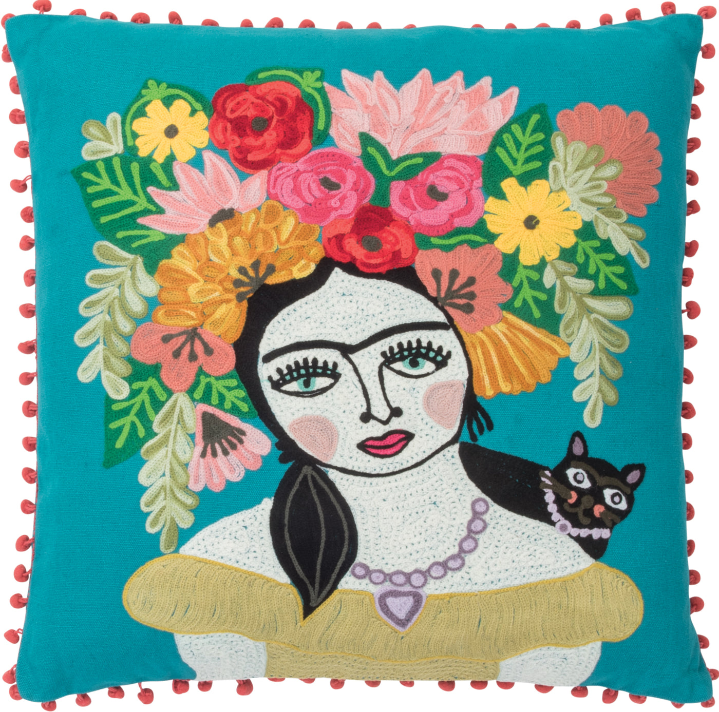 Green Frida Kahlo Floral Cushion