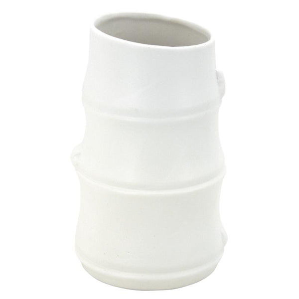 Rustic Style Bamboo Shaped Ceremic White Vase