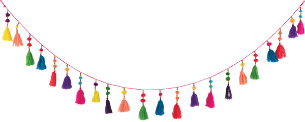 Multi Coloured Tassel & Pom Pom Garland