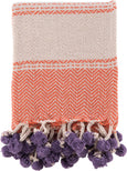 Orange & Purple Cotton Throw With Tassels And Pom Poms