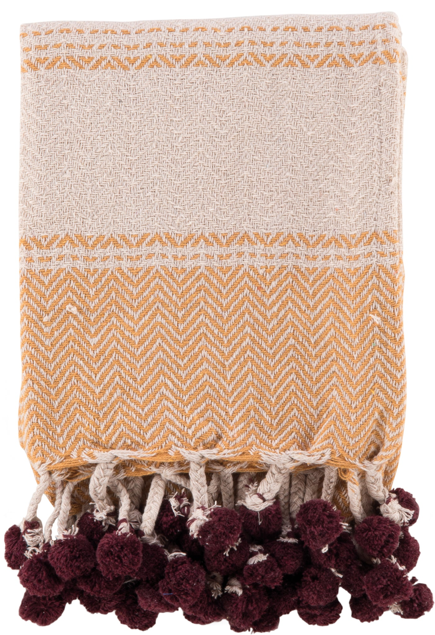 Mustard & Dark Rose Cotton Throw With Tassels And Pom Poms