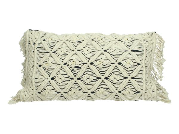Woven Cotton Cushion Cover With Macrame Style
