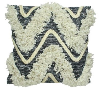 Woven Cotton Cushion Cover With Frayed Edge