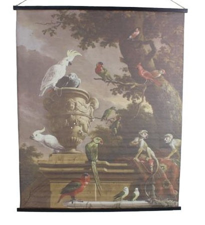 Tropical Canvas Hanging Wall Art Tropical Birds Scroll