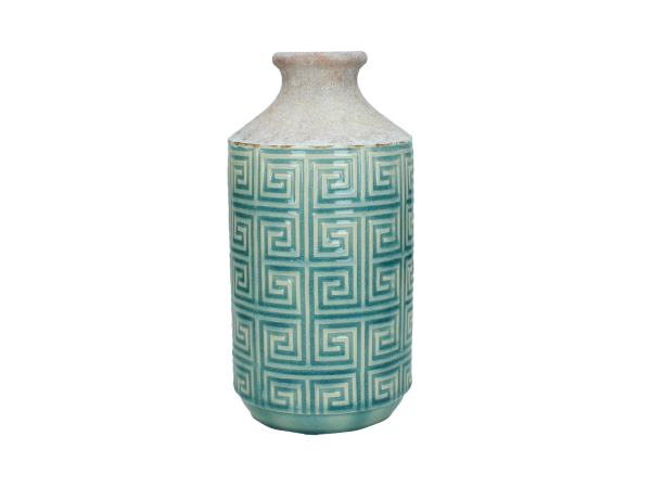 Rustic Duck Egg Blue Ceramic Bottle Vase