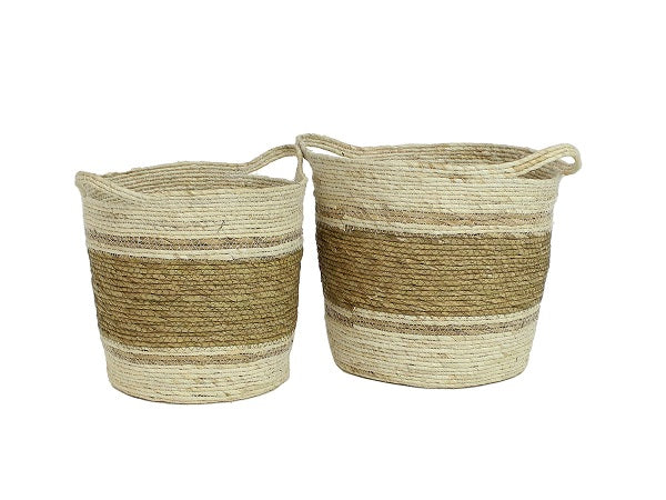 Set of Two Round Seagrass Storage Baskets With Handles