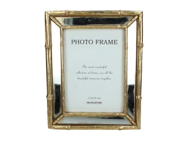 Gold Bamboo Mirrored Freestanding Photo Frame