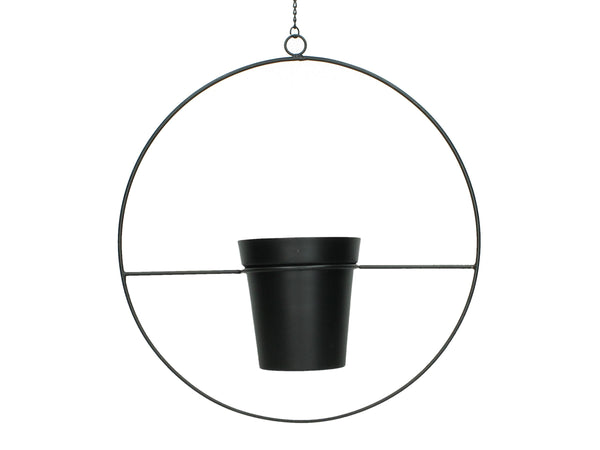 Metal Planter With Plant Pot And Hanging Chain