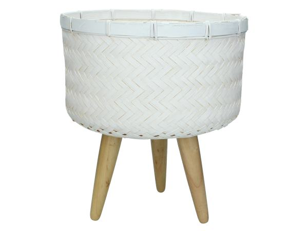 White Seagrass Basket Planter