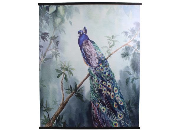 Canvas Hanging Wall Art Peacock Scroll