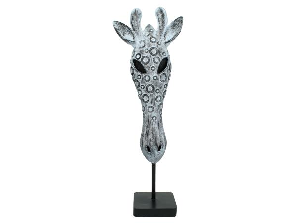 Giraffe Head Sculpture 53cm Safari Mask On Plinth