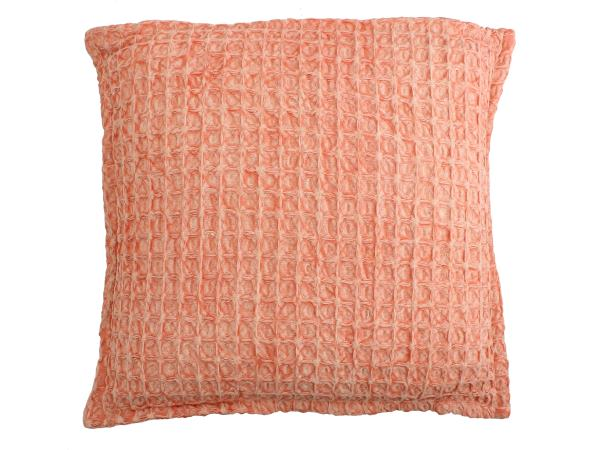 Sun Bleached Peach Textured Woven Cotton Cushion Cover
