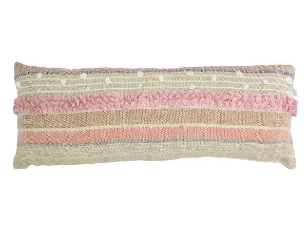 Woven Cotton Cushion Cover With Stripes And Frayed Tassel Edge