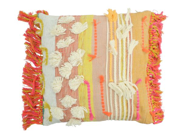 Woven Cotton Cushion Cover With Tassels And Fringing