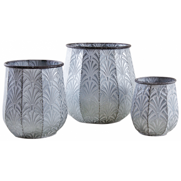 Embossed Metal Plant Pots