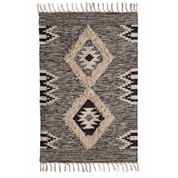 Scandi Boho Style Woven Rug Cotton Rug With Fringed Tassels