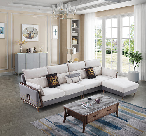 Classic and modern combination L-shaped  fabric sofa - JFF520