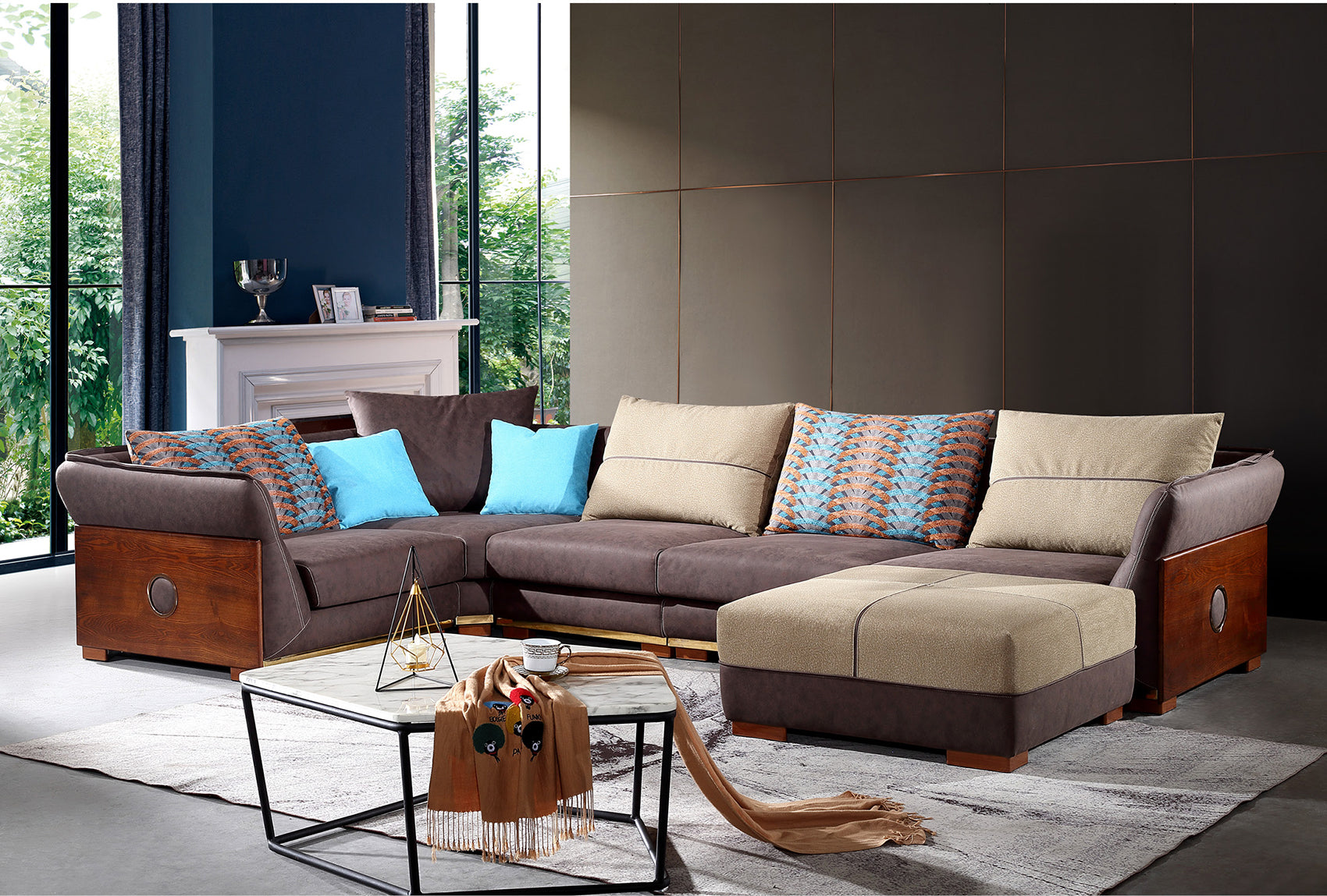Corner sectional leath-aire sofa-JKJYS20
