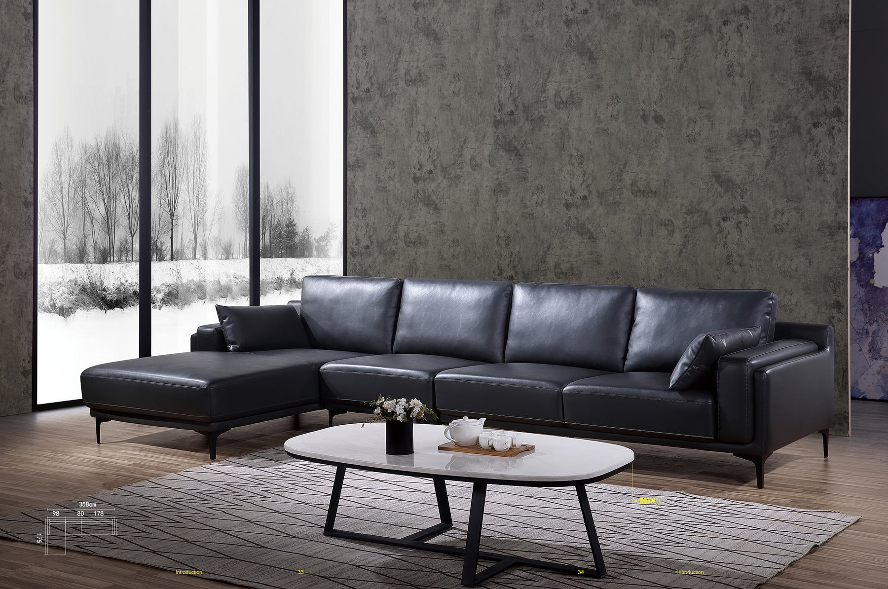 Luxury l-shaped  first layer leather sofa-JLYS12