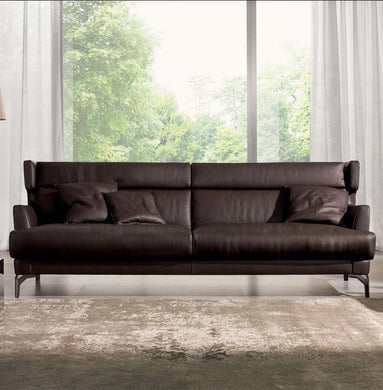 Small apartment simple 3 seat cow leather sofa-ZTSL01