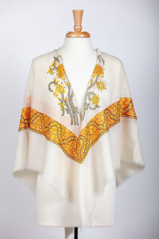 Ivory and Gold silk Stole