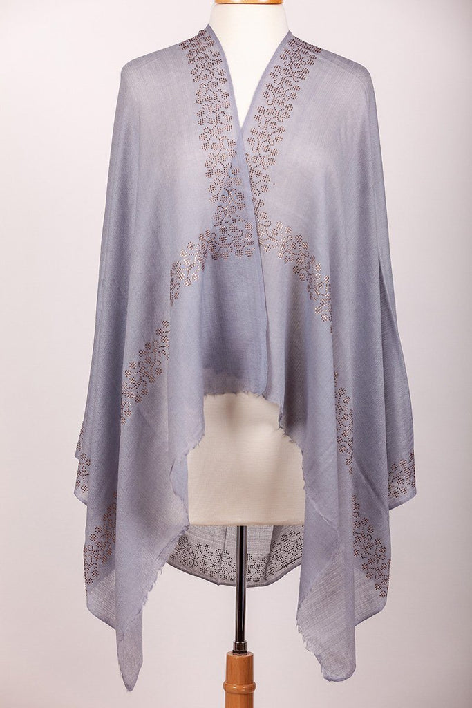 Soft Grey Crystal Studded Shawl - The Emperor's Lane