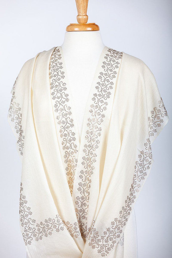 Off White Crystal Studded Shawl