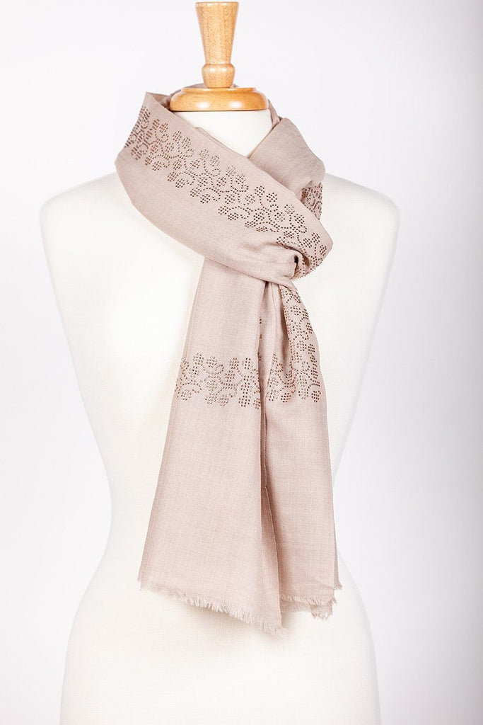 Natural Light Crystal Studded Shawl