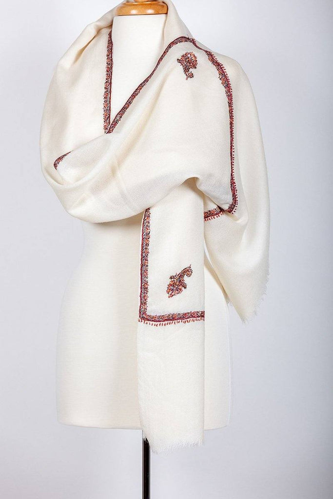 Trisul Ivory Embroidered Shawl - The Emperor's Lane