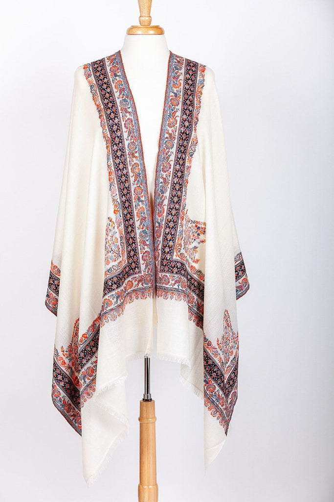 Kamet Ivory Embroidered Shawl - The Emperor's Lane