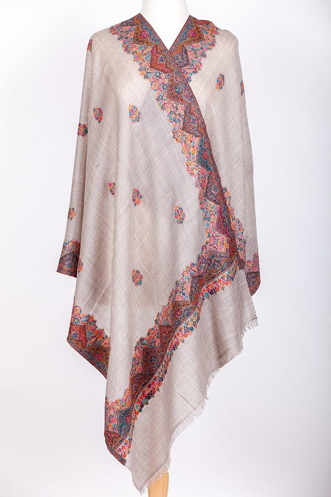 Phalut Light Beige Embroidered Shawl - The Emperor's Lane