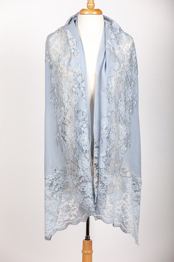 Sky Blue lace Bloom Stoles and Shawls Handicraft Emporium