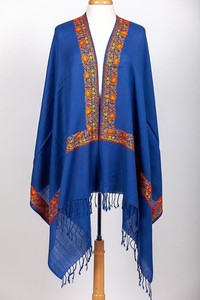 Kangri Royal Blue Embroidered Shawl - The Emperor's Lane