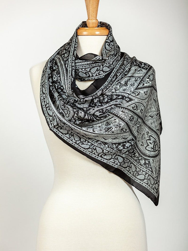 Classic Black Satin Silk Scarf - The Emperor's Lane