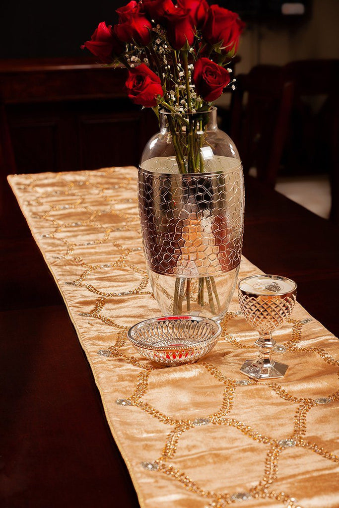 Velvet Table Runner, Gold with Crystal - The Emperor's Lane