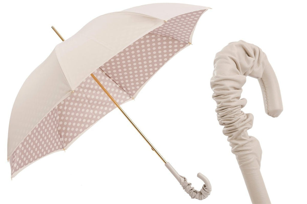 Ivory Umbrella with Dots, Double Cloth - The Emperor's Lane