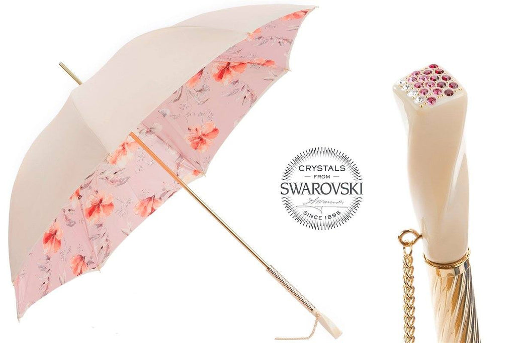 Ivory and Pink Flowered Umbrella - The Emperor's Lane